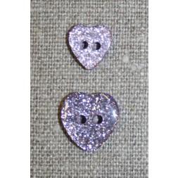 Knap m/glimmer, hjerte i lyselilla 11 mm.-20