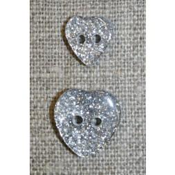 Knap m/glimmer, hjerte i sølv 11 mm.-20