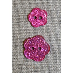 Knap m/glimmer, blomst i pink, 11 mm.-20