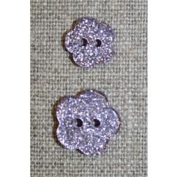 Knap m/glimmer, blomst i lyselilla, 11 mm.-20