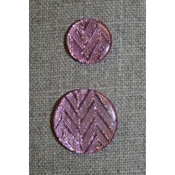 Knap m/glimmer zigzag, rosa, 25 mm-20