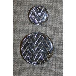 Knap m/glimmer zigzag, sølv-20