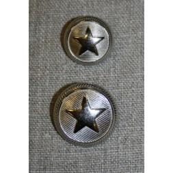 Uniforms-knap m/stjerne sølv, 20 mm.-20