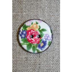 Kokos-knap m/emalje, hvid m/blomster-20