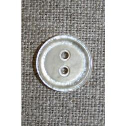 Off-white 2-huls knap, 15 mm.-20