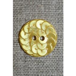 Knap i Palliet-look, gul 18 mm.-20