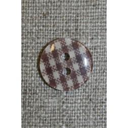 Ternet 2-huls knap brun/hvid, 14 mm.-20