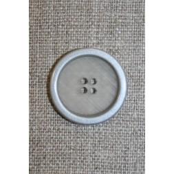 4-huls knap klar m/sølv-kant, 22 mm.-20
