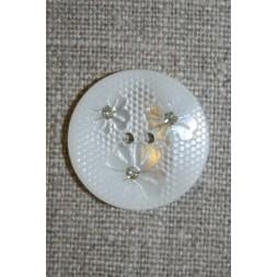 Hvid knap m/blomster/glimmer, 22 mm.-20