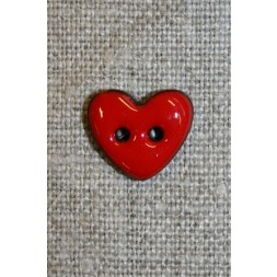 Kokos-knap m/emalje, hjerte rød 15 mm.-20
