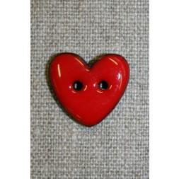 Kokos-knap m/emalje, hjerte rød 20 mm.-20
