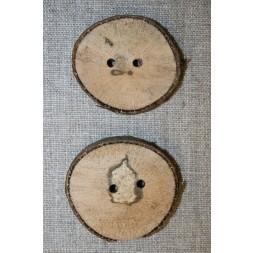 Håndlavet rå træknap m/bark, 40-48 mm.-20