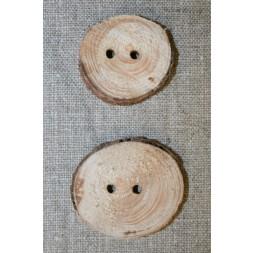 Håndlavet rå træknap m/bark, 30-40 mm.-20
