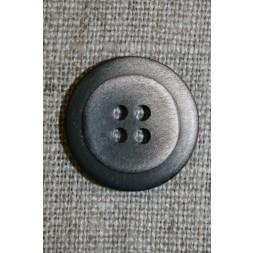 4-huls knap m/skygge mørkebrun/beige, 20 mm.-20