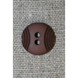 2-huls knap mørkebrun m/buer, 15 mm.-20