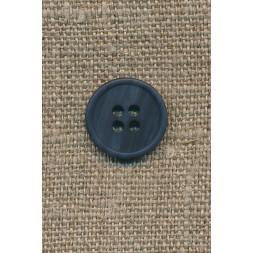 4-huls knap mørkeblå-meleret, 15 mm.-20