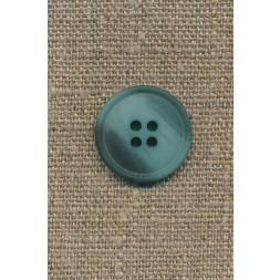 4-huls knap meleret aqua/petrol-grøn, 20 mm.-20