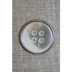 4-huls knap hvid/sølv, 23 mm.-20