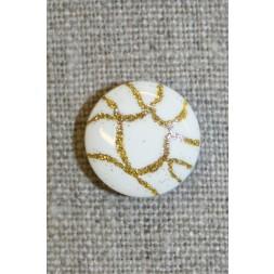 Knap hvid m/guld-mønster, 15 mm.-20