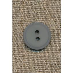 Lys grå 2-huls knap, 15 mm.-20