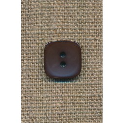 Firkantet mørkebrun knap, 13 mm.-20