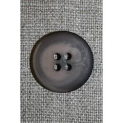 Mørkebrun/støvet brun meleret 4-huls knap, 20 mm.-20