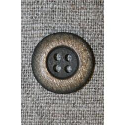 4-huls knap mørkebrun/gylden, 18 mm.-20