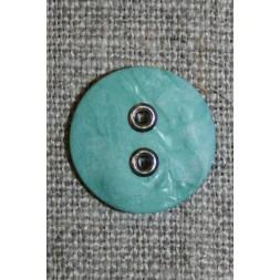Aqua-Irgrøn knap m/sølv-huller, 18 mm.-20