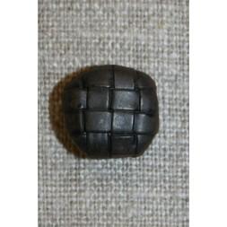 Mørkebrun knap m/flet-mønster, 15 mm.-20