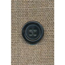 4-huls knap mørkebrun, 15 mm.-20