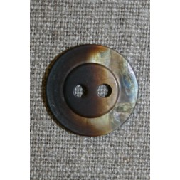 Blank meleret 2-huls knap brun/beige-20