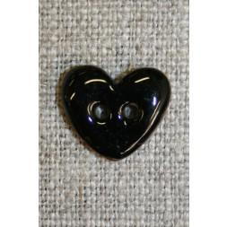 Kokos-knap m/emalje, hjerte sort 15 mm.-20