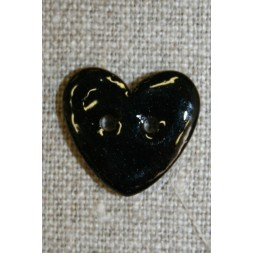Kokos-knap m/emalje, hjerte sort 20 mm.-20