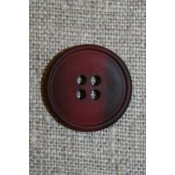 4-huls knap meleret mørk hindbær/bordeaux, 20 mm.-20