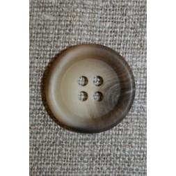4-huls knap meleret off-white/beige/brun, 20 mm.-20