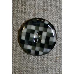 Kokos-knap m/emalje, ternet sort/grå-20