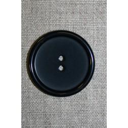 Stor sort 2-huls knap, 38 mm.-20