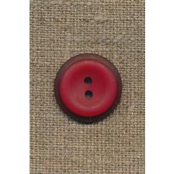 Rød 2-huls knap m/mørk rød kant, 20 mm.-20