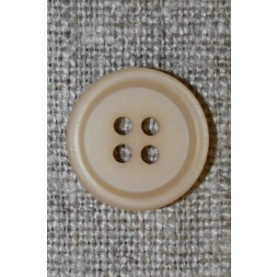 4-huls knap m/kant beige, 15 mm.-20