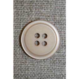 4-huls knap m/kant beige, 18 mm.-20