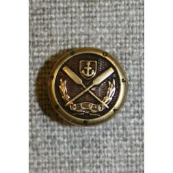 Gl.guld knap m/åre/anker, 12 mm.-20