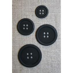 4-huls knap sort, 25 mm.-20