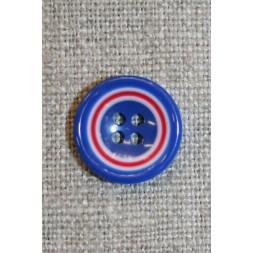 Flerfarvet knap m/cirkler, blå/hvid/rød 15 mm.-20
