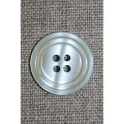 4-huls knap m/cirkel, lysegrå/kit-20