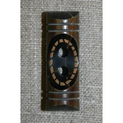 Aflang træknap/knebel 40 mm. mørk m/mønster-20