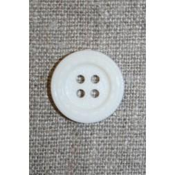 Knækket hvid knap m/stikning, 18 mm.-20