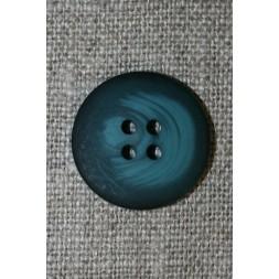 4-huls knap meleret mørk petrol/petrol-blå, 20 mm.-20
