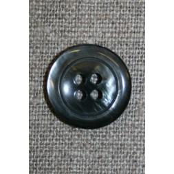 Blank koksgrå 4-huls knap, 18 mm.-20