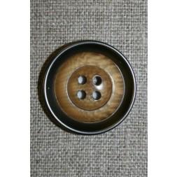 4-huls knap i plast med lys træ og gl.sølv-look 28 mm.-20