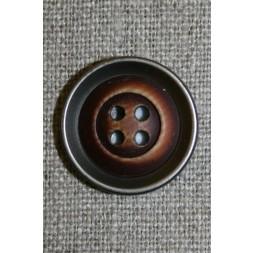 4-huls knap træ/gl.sølv-look, mørk 28 mm.-20